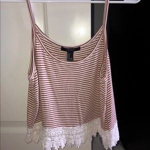 Brand New Women's Striped Lace Tank Top